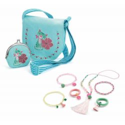 pack sac brodé chaton et bijoux pompons et papillons