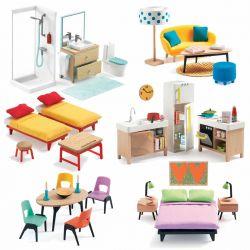 Grand pack mobilier pour maison de poupées Djeco