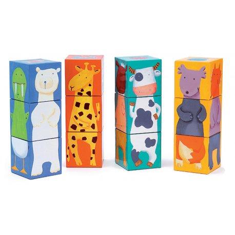 12 cubes animaux couleurs Djeco