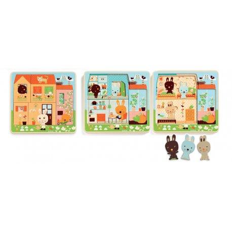 Chez Carot - Puzzle 3 niveaux - Djeco - Pièces