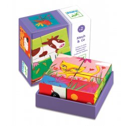 Meuh & Co - 6 puzzles cubes Djeco - Boîte