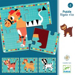 Rigolo n'co - 4 Puzzles 4 pièces Djeco - Packaging