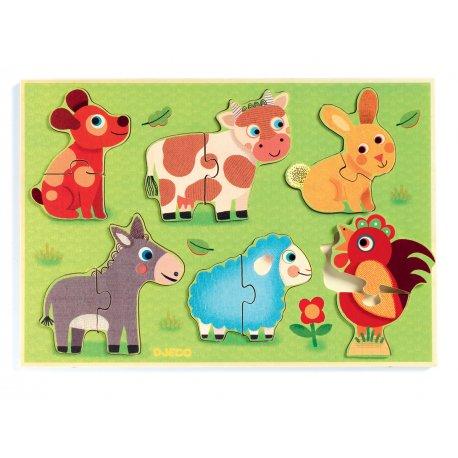 6 Puzzles à encastrement de 2 pièces Coucou-cow Djeco