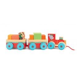Petit train en bois à tirer Junzo Train Djeco